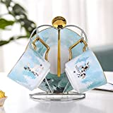 ZHSGV 200 ml Bone China Taza y platillo de la fantasía del Bosque de cerámica Taza de té Conjunto con Acero Inoxidable 304 Cuchara (Color : 2 Sets with Holds)