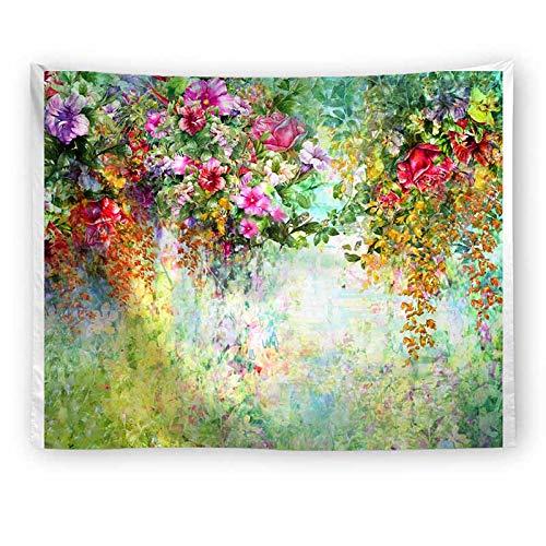 Puente de flores tapiz colgante de pared boda colorido paisaje tapiz pared vacaciones belleza tapiz de boda A2 130x150cm