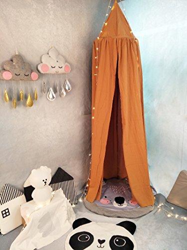 Ommda Moskitonetz Bett Kinder und Baby Betthimmel Moskitonetz Baumwolle süß und romantisch für Kinderzimmer und Schlafzimmer Braun 240x60cm (HöhexDurchmesser)
