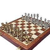 HJSP Metal del Recorrido del Conjunto de ajedrez Piezas sólidas de Madera Plegable Tablero de ajedrez Profesionales de Juegos de ajedrez Juego de Regalo