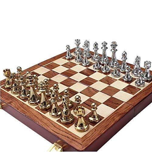 HBXHN Tablero de ajedrez Metal del Recorrido del Conjunto de ajedrez Piezas sólidas de Madera Plegable Tablero de ajedrez...