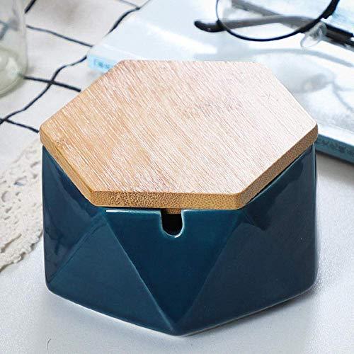 Cenicero para interior con tapa, cenicero de cerámica, creativo, personalidad, a la moda, resistente al viento, grande, sala de estar, oficina, cenicero HLSJ