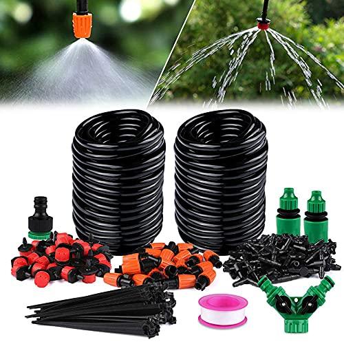 Sistema de riego de jardín, kit de riego por goteo micro con boquilla ajustable y gotero automático para patio, riego de plantas para invernadero, césped, jardín, invernadero, patio, césped