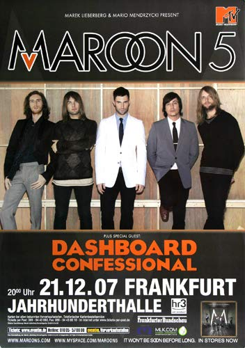 Maroon 5 - Dashboard 2007 - Poster, Concertposter, Concert