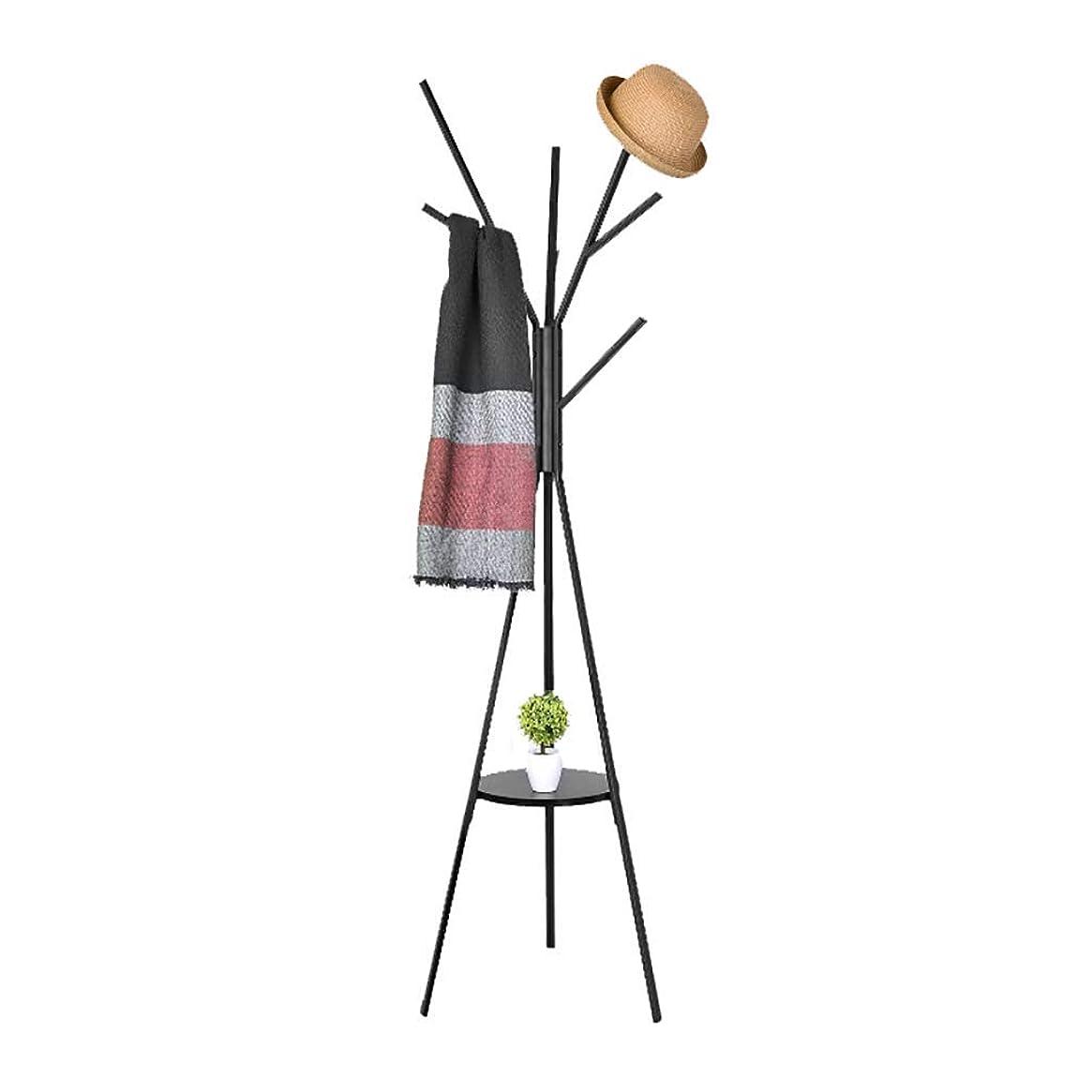 カップル診断する主張コートスタンドMultifuctionalメタルコートラックコート帽子の傘の服のハンガースタンドのための8つのフック (色 : ブラック)