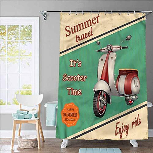 Vintage Waterproof Bathroom Shower Curtain Sets Retro Motorbike Quote Decor,Machine Washable 72 x 72 Inch