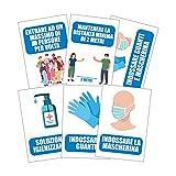 Pack 6 cartelli adesivi Covid 19 Regole di sicurezza - Dimensione 13,5x20 cm - Kamiustore