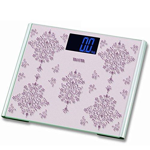 TANITA® 200kg 440lb glas digitale precisie Thuis badkamer lichaam weegschaal met groot platform en grote Blacklid Display (roze)