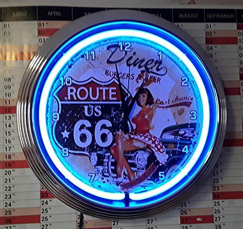 HORLOGE NEON CLOCK PINUP ROUTE 66 DINER, NEON BLEU!