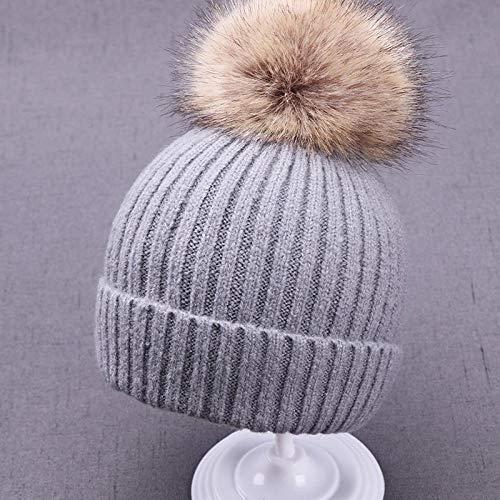 Aibccr Kinder Wollmütze Kaninchen Fell Ball Baby Strickmütze Mode warme Baby Hut-grau klein