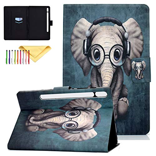 Case for Samsung Galaxy Tab S7 11 Inch 2020 Model SM-T870(Wi-Fi) SM-T875(LTE), Cookk Slim Premium PU Leather Folio Case Protective Smart Cover with Auto Sleep/Wake, Music Elephant