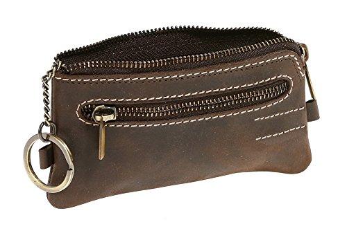 LEAS Monedero-llavero para señores y señoras Vintage Style, Piel auténtica, marrón Vintage-Collection''