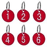 Aspire 50Pcs Schlüsselanhänger Schlüssel Tags mit Ring aus Acrylic zum Organisieren und Sortieren Rot Round1 bis 50