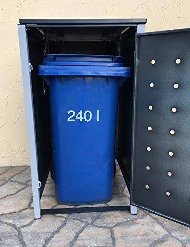 BBT@ | Hochwertige Mülltonnenbox für 3 Tonnen je 240 Liter mit Klappdeckel in Grau / Aus stabilem pulver-beschichtetem Metall / Stanzung 1 / In verschiedenen Farben sowie mit unterschiedlichen Blech-Stanzungen erhältlich / Mülltonnenverkleidung Müllboxen Müllcontainer - 5