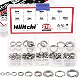 Hilitchi 210Pcs [9-Sizes] Stainless Steel Fishing Split Rings Fishing Tackle Ring Chain High Strength Heavy Fishing Lures Connector Flat Split Rings