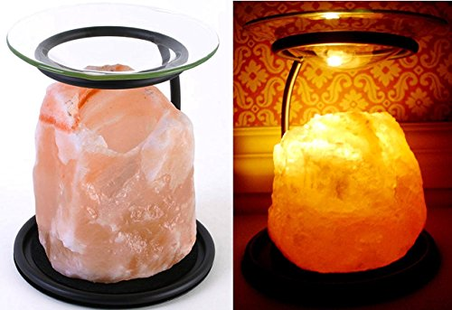 Klass Home Collection Himalayan Rock Crystal Salt Lamp Essential Oil Compatible with...