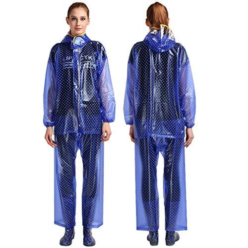GX Regenmantel Transparente PVC Frauen Split Dot Set, Outdoor Reiten Winddicht Poncho (Farbe : Königsblau, Größe : M)
