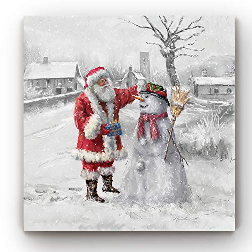 Renditions Gallery Christmas, Canvas Wall Art, Holiday Décor, Angel, Bells, Christmas Tree, Ginger Bread, Egg Nog, Snow Man, Santa, Reindeer - Square 01 - P (24X24, JoyfulSanta)