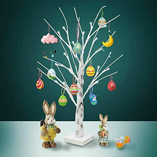 DFWYG Árbol de Pascua de 45 cm con 18 Luces LED Blancas Cálidas y 12 Huevos de Pascua Adornos Colgantes Mini áRbol de Ramitas Decoraciones de Lámpara Mesa para el Hogar Pascua Boda Vacaciones
