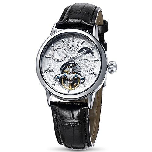 Time100 Orologio meccanico automatico uomo cinturino in pelle colore nero maschio