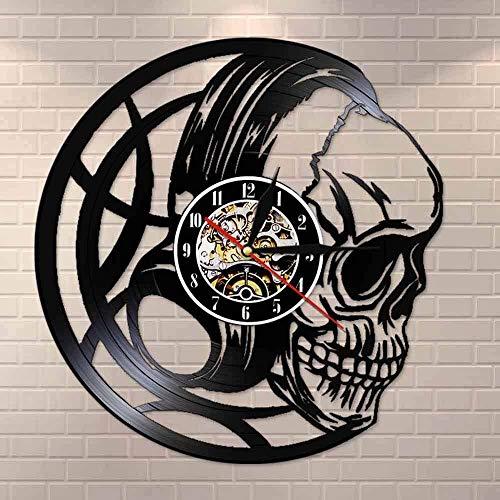 KDBWYC Skull Headphones Reloj de Pared con Disco de Vinilo Reloj con Cabeza de Calavera Negra Reloj Dark Art Decor Reloj de Pared de Cuarzo Regalo para Hombres (Tamaño: 12 Pulgadas con LED)