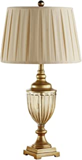 @Uncle Sam LI European Style Retro Crystal Glass Creative Bedroom Study Living Room Table Lamp Home Decorative Lights (Color : Gold)
