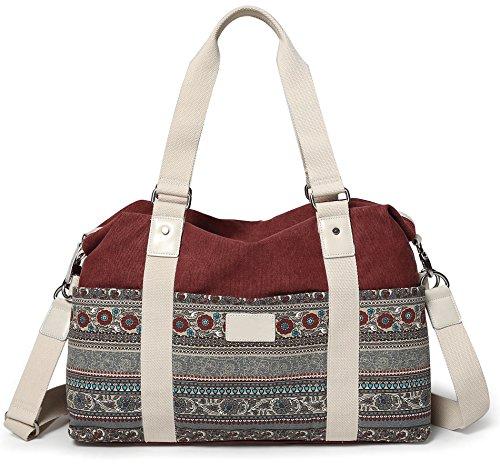 ArcEnCiel Crossbody Bag for Women Large Canvas Travel Tote Bags Carry-On Luggage Shoulder Purse Beach Handbags Work School Travel Shopping Pack (Maroon)