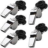 5 Packs Silbato de acero inoxidable, FineGood Silbato de metal fuerte con cordón para los...