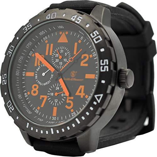 Smith & Wesson Calibrator Watch Orange, Japanese Movement, Precision Quartz, Black Rubber Strap, 51mm