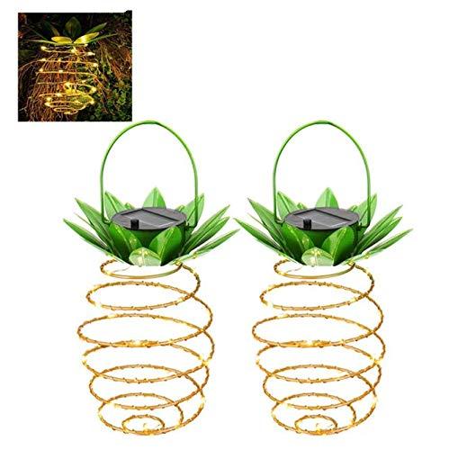 Kerta Luces solares de piña de hierro forjado, luces solares de jardín LED, luces de hadas impermeables para decoración de terraza al aire libre (2 piezas)