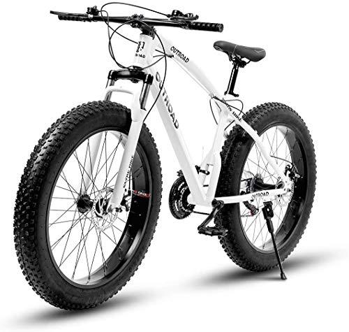 Outroad Mountain Bike 21 Speed Anti-Slip Bike 26 inches Fat Tire Sand Bike Double Disc Brake Suspension Fork Suspension, White