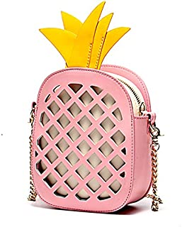 Leather 2018 New Women's Shoulder Wallet Leather Hollow Pineapple Shoulder Wallet Korean Version of Chic Chain Messenger Waterproof (Color : Pink, Size : S)