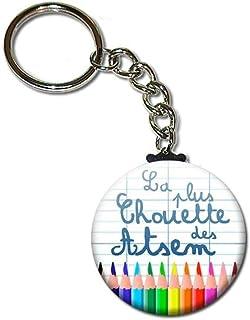 La Plus Chouette des Atsem Porte Clés Chaînette 3,8 centimètres Idée Cadeau Accessoire École Fin Année Scolaire Noël Anniv...