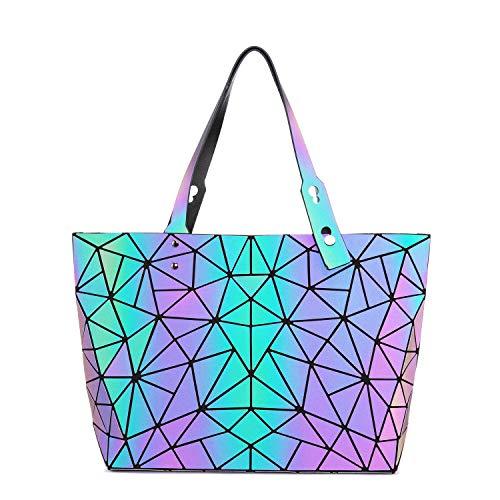 LOVEVOOK Handtasche Damen Groß, Geometrische Holographic Tasche, New Style Damentasche mit Einstellbar Henkel, Leuchtende Henkeltasche Shopper Schultertasche für Frauen