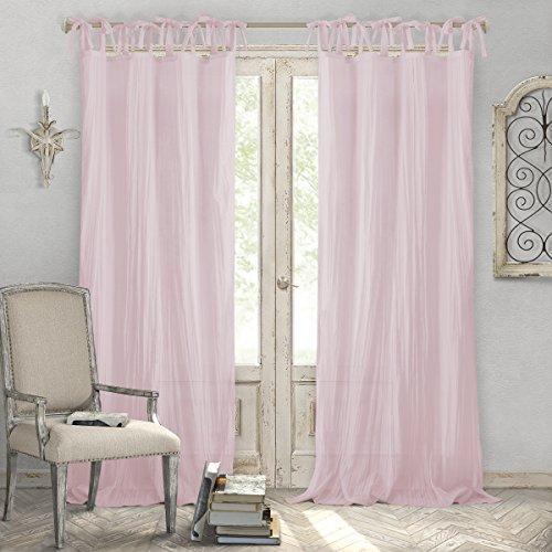 "Elrene Home Fashions Crushed Semi-Sheer Adjustable Tie Top Single Window Curtain Drape, 52"" x 95"" (1 Panel), Blush"