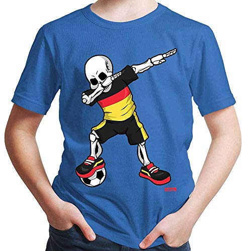 HARIZ Jungen T-Shirt Fussball Dab Skelett Deutschland Land Trikot Inkl. Geschenk Karte Royal Blau 164/14-15 Jahre