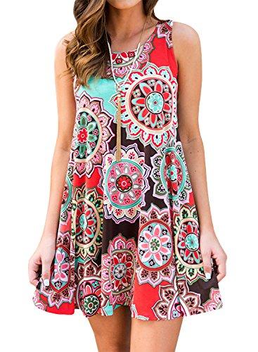Yidarton Sommerkleider Damen Casual Rundhals Strandkleider Blumen Bedrucktes Trägerkleid Kurz Kleider mit Taschen, M, Braun