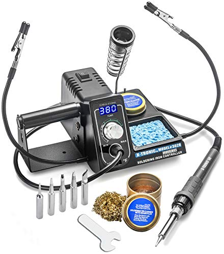 X-Tronic Model #3020 Digital LED 75 Watt Soldering Iron Station - 10 Minute Sleep Function, Auto Cool Down, C/F Switch, Solder Holder, Brass Tip Cleaner w/Cleaning Flux