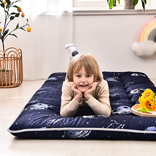 Navy Space Adventure Japanese Floor Futon Mattress, Thicken Tatami Mat Sleeping Pad Foldable Bed Roll Up Mattress Floor Lounger Bed Couches and Sofas for Kids Twin Size