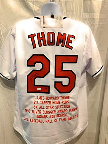 Jim Thome Cleveland Indians Signed Autograph Custom White Jersey Embroidered Stat Limited Edition Cleveland Rocks JSA Certified