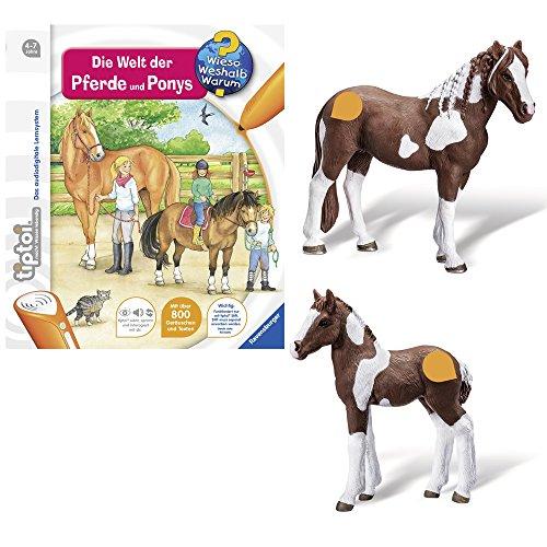 Ravensburger tiptoi® 3-teiliges Set Wieso? Weshalb? Warum? Die Welt der Pferde und Ponys + Tierfigur Barockpinto Stute + Tierfigur Barockpinto Fohlen