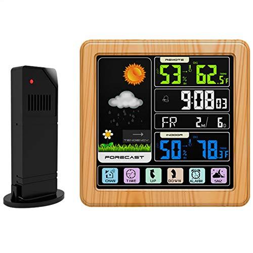 RSGK Drahtlose Wetteruhr, Innen- Und Außenthermometer Und Hygrometer Mit Sensor, LCD-Farbbildschirm, Wettervorhersage-Wetterstation Mit Hintergrundbeleuchtung