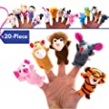 BETTERLINE 20-Piece Story Time Finger Puppets Set - Cloth Velvet Puppets - 14 Animals and 6 People Family Members by Better Line ®
