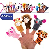 20-Piece Story Time Finger Puppets Set - Cloth Velvet Puppets - 14 Animals and 6 People Family Members