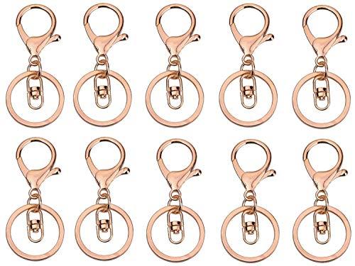 Daoqi 10 STK. Schlüsselringe, Karabiner Ring drehbar als Schlüsselanhänger, Lobster Claw, ideal für Makramee (Rosegold)