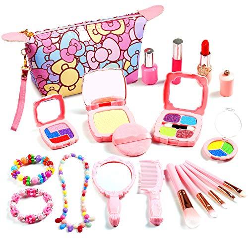 Auney Maquillaje Niñas Set, Maquillaje Infantil, 20 Piezas Juguete de Maquillaje para Niñas Incluye Bolsa de cosméticos, Espejo, lápiz Labial, Cepillo, Collar de Pulsera de joyería
