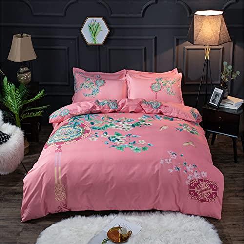 YYSZM Copripiumino in Puro Cotone Traspirante E Confortevole, Primaverile E Estivo Copripiumino per Dormitorio Set di 4 Pezzi 180x220cm