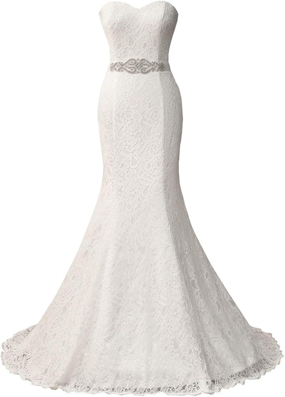HUICHENGYAO Women's Sweetheart Sleeveless Lace Wedding Dress Evening Mermaid Gown White
