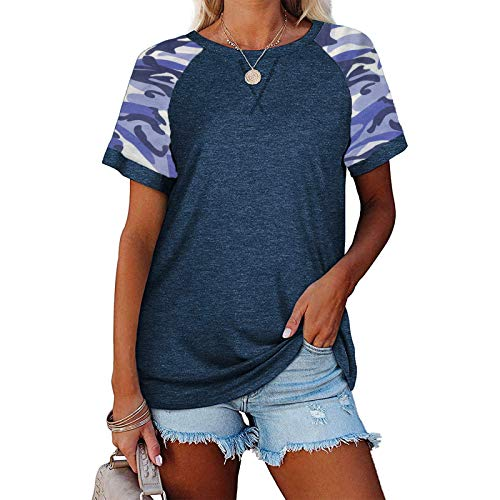 Masrin Damen Tops Sommer Kurzarm T-Shirt Lässige Kontrastfarbe Patchwork Shirts 3D Camouflage Print Pullover O-Ausschnitt Lose Tunika Basic All-Match Bluse (L,Dunkelblau)