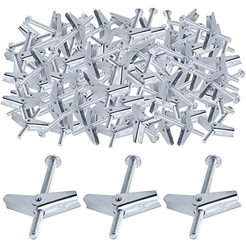 Glarks 60Pcs 1/4'' Zinc Plated Steel Round Head Toggle Bolt and Wing Nut for Hanging Heavy Items on Drywall (1/4'')